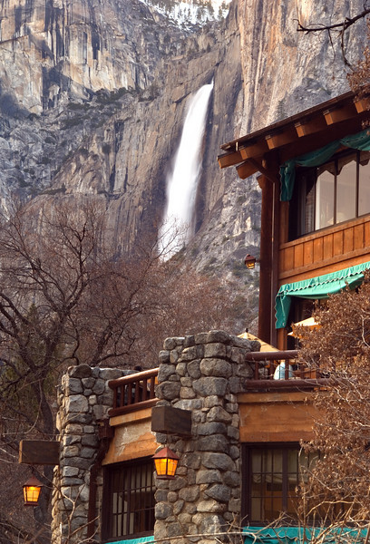 ahwahnee hotel and upper yosemite fall