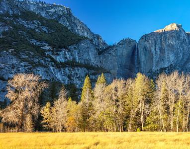 Yosemite Falls at sunset in late Autumn.  Yosemite National Park, California.