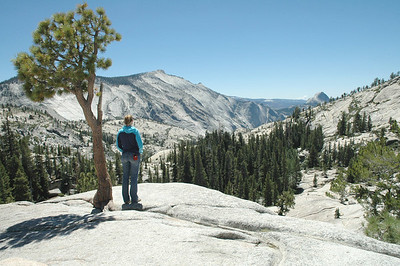 Kimberly and I left the White Mountains and headed north and west to Tuolumne Meadows in Yosemite's high country. Here we are at Olmsted Point, with a view to Half Dome!