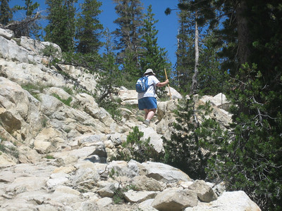 This well-built trail has granite stairways in some of the steeper sections. © Kimberly Barnett