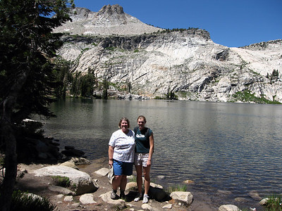 Mt. Hoffman (10,850') towers above May Lake (9,229'). Mt. Hoffman is considered to be the geographical center of Yosemite National Park. Another hiker offered to take our picture.