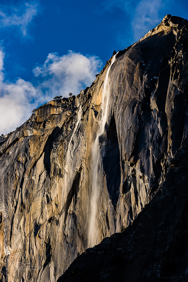 Twin Horsetail Falls - well before sunset