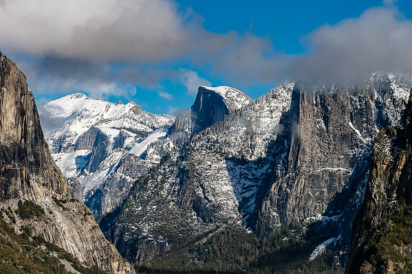Half Dome from Tunnel View - Horsetail Falls on far left