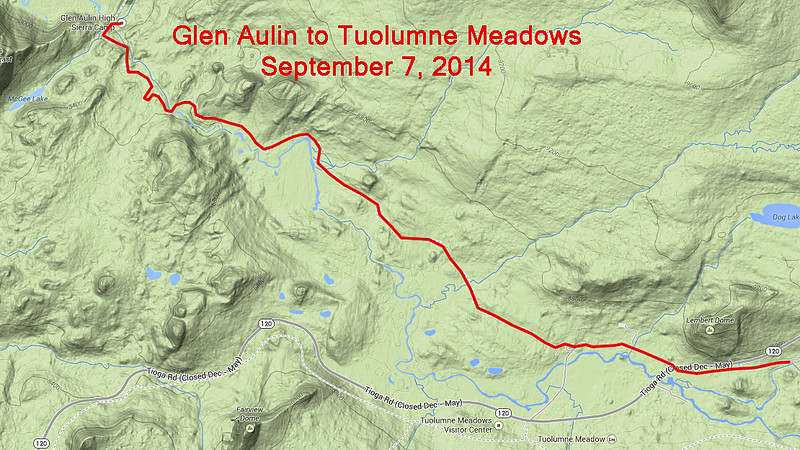 Glen Aulin to Tuolumne Meadows (last leg of hike)