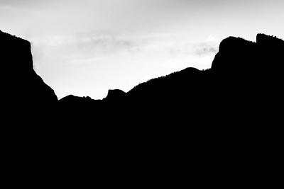 Silhouette View of El Capitan and Half Dome at Sunrise