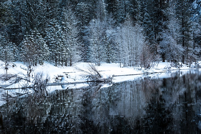 Winter reflection on the Merced River