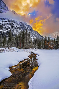 """""""Eternity,"""" Sunset reflections over Stoneman Meadow in the Winter, Yosemite National Park, California"""