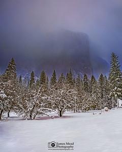 """Capitan's Veil,"" Fog envelopes El Capitan at sunset, Yosemite National Park, California"