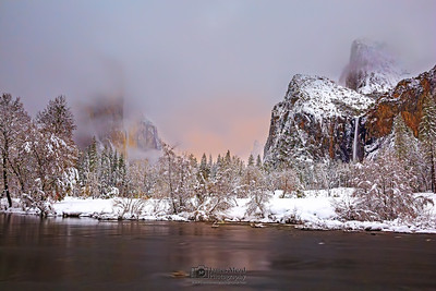 """Winter's Breath,"" El Capitan, Cathedral Rocks, the Merced River and Bridalveil Fall at night during Moonrise, Yosemite Valley, Yosemite National Park, California"