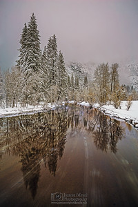 """Shrouded Mystery,"" Sunset through low clouds and fog over the Merced River, Yosemite National Park, California"