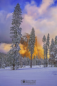"""Frozen Brilliance,"" Sunset over El Capitan and a snow covered meadow, Yosemite National Park, California"