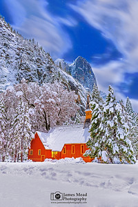 """Winter in Eden,"" Snow covered Yosemite Valley Chapel at Night, Yosemite National Park, California"