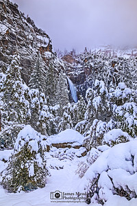 """""""Snowbound,"""" A veil of clouds over  The Cascades, Yosemite Valley, Yosemite National Park, California"""