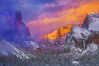 """Winter Enchantment,"" Sunset over El Capitan, Cathedral Rocks, Cathedral Spires, Bridalveil Fall, and Yosemite Valley, Yosemite National Park, California"