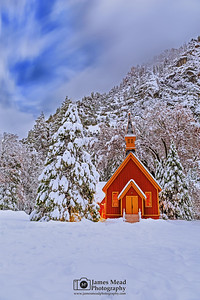 """Jewel of the Valley,"" Snow covered Yosemite Valley Chapel at Night, Yosemite National Park, California"