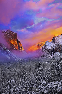 """""""Ethereal Beauty,"""" Full Moon and Alpenglow at Sunset over El Capitan, Cathedral Rocks, Cathedral Spires, Bridalveil Fall, and Yosemite Valley, Yosemite National Park, California"""