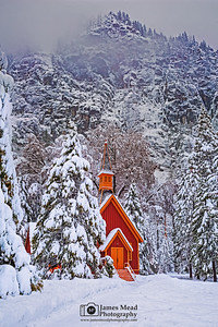 """Winter Hideaway,"" Snow covered Yosemite Valley Chapel at Dusk, Yosemite National Park, California"