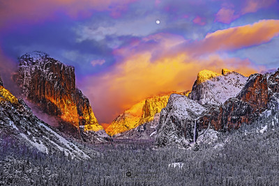 """Heaven's Light,"" Full Moon at Sunset over El Capitan, Cathedral Rocks, Cathedral Spires, Bridalveil Fall, and Yosemite Valley, Yosemite National Park, California"