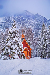 """Whisper,"" Snow covered Yosemite Valley Chapel at Dusk, Yosemite National Park, California"