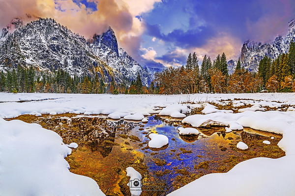 """Valley Magic,"" Sunset reflections over Sentinel Rock and Cooks Meadow in the winter, Yosemite National Park, California"