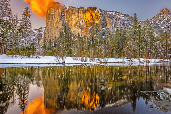 """Searchlight,"" Yosemite Firefall 2019 reflecting in the Merced River, Horsetail Falls, Yosemite National Park, California"