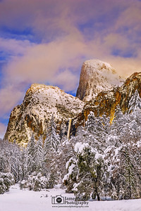"""Winter's Cloak,"" Sunset over Cathedral Rocks, Cathedral Spires and Bridelvel Fall, Yosemite National Park, California"