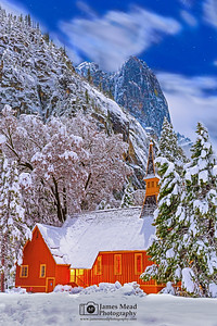 """Silent Night,"" Snow covered Yosemite Valley Chapel at Night, Yosemite National Park, California"