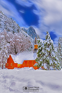 """Divine Chill,"" Snow covered Yosemite Valley Chapel at Night, Yosemite National Park, California"