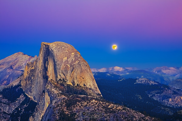 """""""Last Light, First Light"""" Half Dome and Glacier Point at Dusk, Yosemite National Park"""