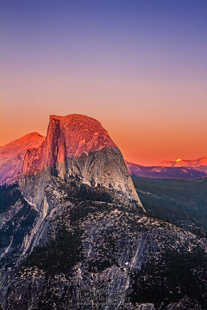 """""""Peek-A-Boo,"""" Half Dome and Glacier Point at Sunset, Yosemite National Park"""