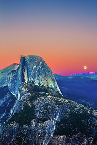 """Switch,"" Half Dome and Glacier Point Sunset - Moonrise, Yosemite National Park"
