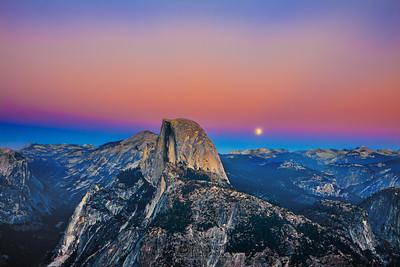 """Evening Awakens,"" Moonrise over Half Dome, Glacier Point, Yosemite National Park"