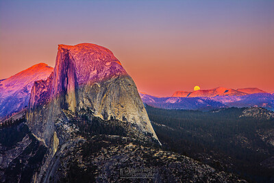 """Whispering Magic"" Half Dome in Pink at Moonrise, Glaicer Point at Sunset, Yosemite National Park"