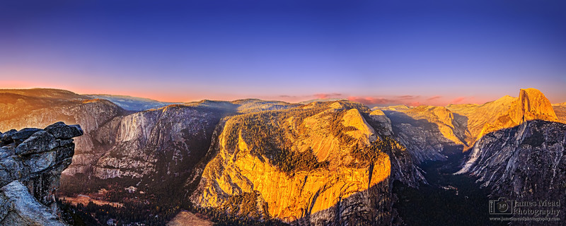 """""""A Tale of Two Valleys,"""" Yosemite Valley and Tenaya Canyon at Sunset (Half Dome, Cloud's Rest, Basket Dome, and North Dome rise above the High Country), Yosemite National Park"""