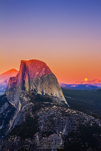 """Reversal,"" Moonrise at Sunset over Half Dome, Half Dome and Glacier Point at Sunset, Yosemite National Park"
