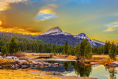 """Holes in the Floor of Heaven,"" Sunset over Fairview Dome and the Tuolumne River, Yosemite National Park"