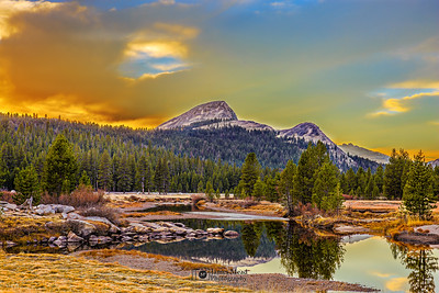 """Heaven's Window,"" Sunset over Fairview Dome and the Tuolumne River, Yosemite National Park"