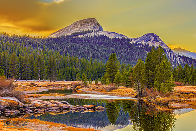 """Fairview Reflections,"" Sunset over Fairview Dome and the Tuolumne River, Yosemite National Park"