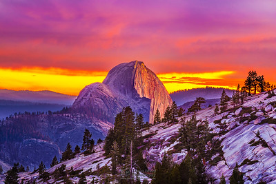 """Skyfire,"" Half Dome Sunset, Yosemite National Park"
