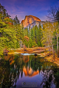 """Wonderland,"" Half Dome Alpenglow Reflections on the Merced River, Yosemite Valley, Yosemite National Park"