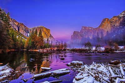 """Winter in Dreamland,"" El Capitan, Cathedral Rocks, the Merced River and Bridalveil Fall at Sunset in the Winter, Yosemite Valley, Yosemite National Park, California"