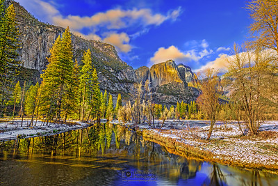 """Peaceful Feeling,"" Yosemite Falls and the Merced River, Yosemite Valley, Yosemite National Park, California"