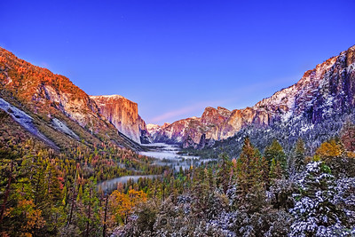 """The Valley's Cloak,"" Dusk over El Capitan, Half Dome, Cathedral Rocks and Bridalveil Fall, Yosemite Valley, Yosemite National Park"
