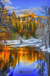 """Heaven's Work,"" Half Dome Sunset over the Merced River, Yosemite Valley, Yosemite National Park, California"