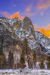 """Amour Yosemite,"" Snowy Moonlite Sunset over Sentinel Rock,"" Yosemite Valley, Yosemite National Park, California"