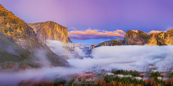 """""""Mysteries of the Valley,"""" Sunset and Alpenglow over Yosemite Valley, El Capitan, Half Dome and Cathedral Rocks, Yosemite National Park"""