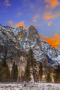 """Valley Whispers,"" Sunset over Sentinel Rock as mist rises in the Valley, Yosemite Valley, Yosemite National Park, California"