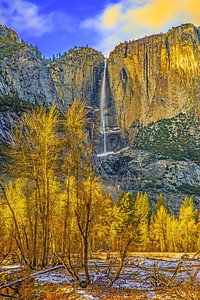 """Whisper Falls,"" Golden Hour over Yosemite Falls in the Autumn, Yosemite Valley, Yosemite National Park, California"