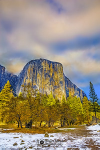 """Mighty Yosemite,"" Sunset over El Capitan with the first Autumn snow, Yosemite Valley, Yosemite National Park, California"
