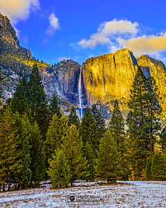 """Falling Mist,"" Golden Hour and the Autumn-Winter Transition over Yosemite Falls, Yosemite Valley, Yosemite National Park"